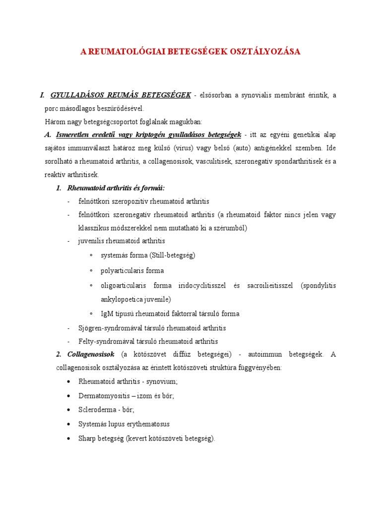 kötőszöveti betegség, osteoarthrosis)